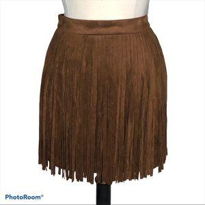 5/48 Fringe Faux Leather Skirt Sz 4